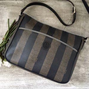 Fendi Pequin Stripe Messenger / File Bag